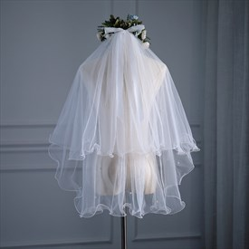 Double Layer Pearl Embellished Short Wedding Veil With Bow