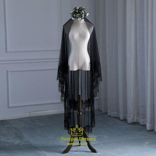 Black One-Tier Halloween Veil Wedding Veil With Lace Applique Trim