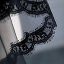 Black One-Tier Halloween Short Wedding Veil With Lace Applique Trim