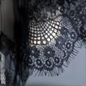 Black One-Tier Halloween Short Wedding Veil With Lace Applique Trim