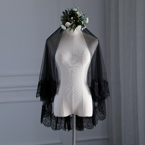 Black Double Layer Halloween Short Wedding Veil With Lace Applique Trim