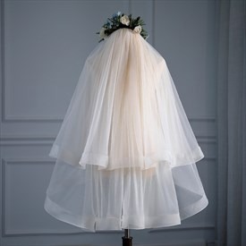 Double Layer Hem Edge Short Wedding Veil