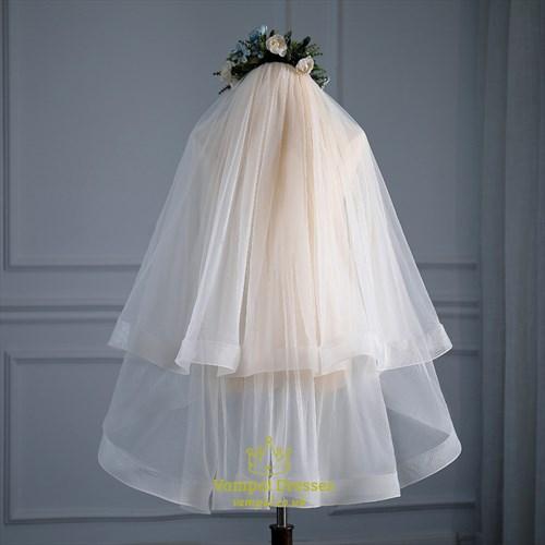 Double Layer Hem Edge Short Wedding Veil