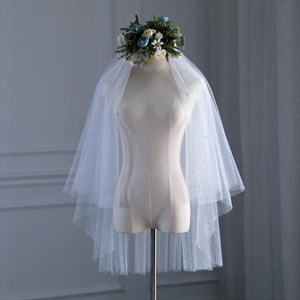 Glittery Double Layer Hem Edge Short Wedding Veil With Pearls