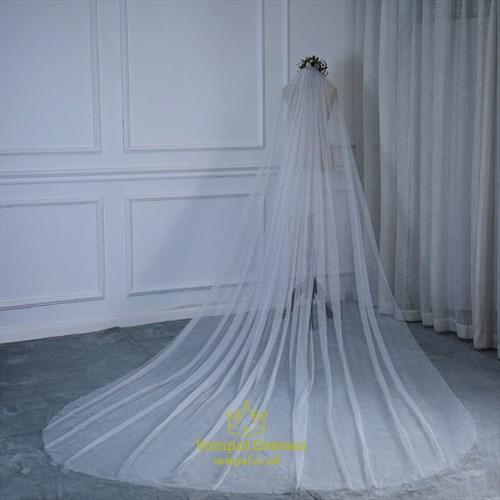 Glitter Sequin Long Bride Wedding Tail
