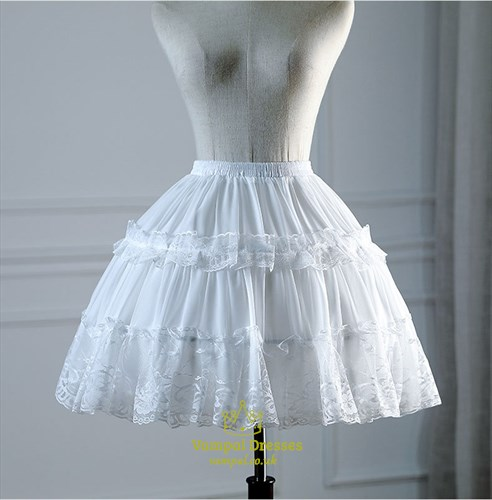 Lolita Cosplay Lace Trim Short Petticoat With Bone