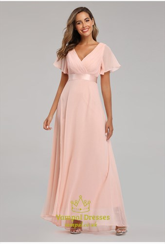 V-Neck Chiffon Ruched Mother Of The Bride Dress With Flutter Sleeves