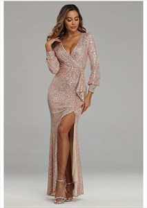 V-Neck Mermaid Sequin Ruched Prom Dress With Long Sleeve