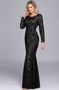 Black Mermaid Sequin Overlay Tulle Prom Dress With Long Sleeve