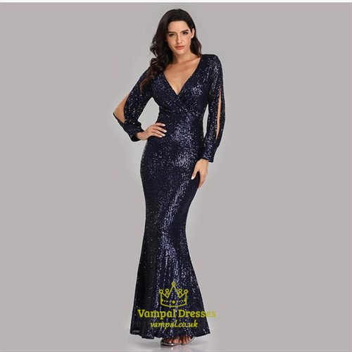 V-Neck Mermaid Sequin Ruched Long Sleeve Prom Dress