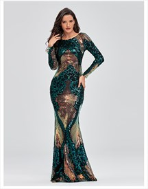 Emerald Green One Shoulder Long Prom Dress With Ruffles
