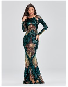 Mermaid Sequin Open Back Prom Dresses With Long Sleeve