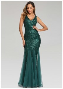 Elegant Mermaid Sequin V-Neck Sleeveless Long Evening Gowns