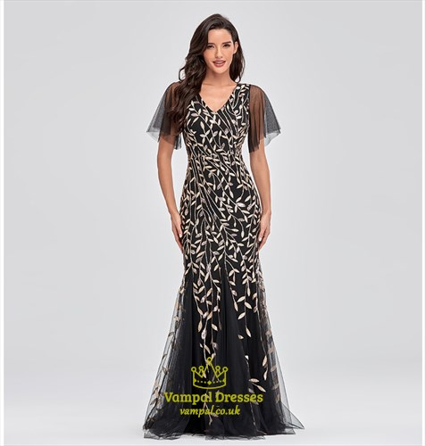 Black Mermaid Sequin V-Neck Long Evening Gowns With Flutter Sleeve