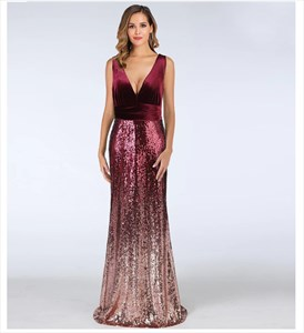 Mermaid Deep V-Neck Sleeveless Sequin Ombre Prom Dress
