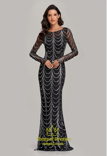 Mermaid Sequin Floor Length Prom Dress With Long Sleeve