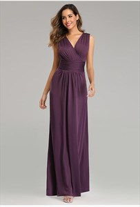 V-Neck Sleeveless Ruched Bodice Floor Length Formal Dress