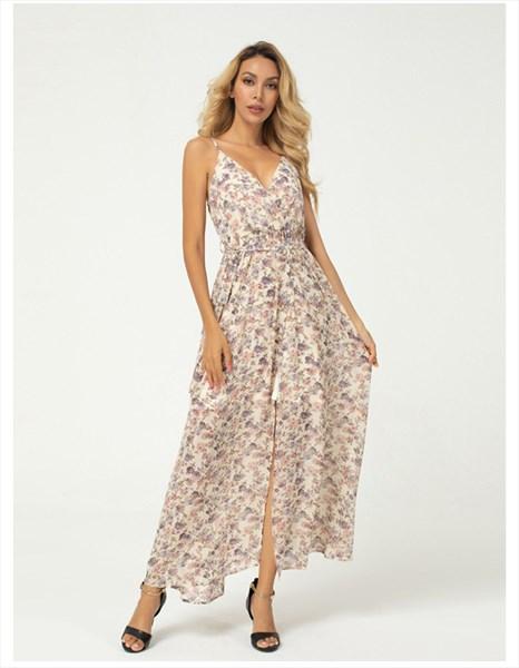 Chiffon Floral Print V-Neck Spaghetti Strap Midi Dress With Split