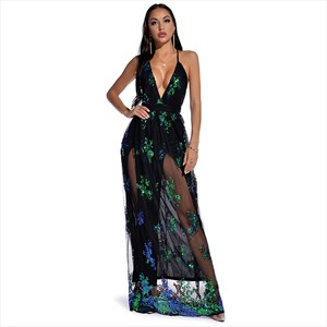 Sequin Deep V-Neck Spaghetti Strap Backless Maxi Dress With Split
