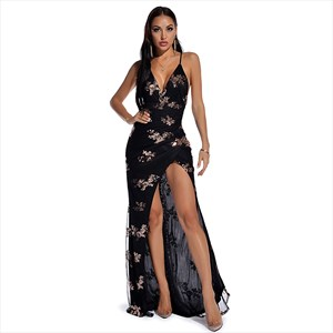 Sequin V-Neck Spaghetti Strap Split Front Backless Maxi Dress