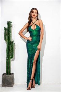Sequin Spaghetti Strap Maxi Dress With Criss-Cross Straps