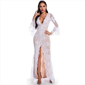 Sequin Embellished V-Neck Split Front Long Sleeves Maxi Dress