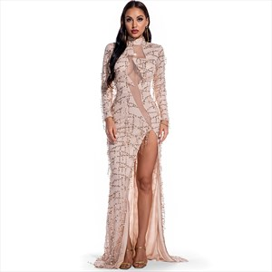 Sequin High Neck Illusion Keyhole Long Sleeves Maxi Dress