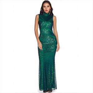 Emerald Green Mermaid Sequin High Neck Sleeveless Maxi Dress