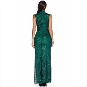 Emerald Green Mermaid Sequin High Neck Sleeveless Maxi Dress