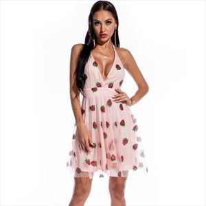 Pink Strawberry V-Neck Halter Mini Party Dress With Open Back
