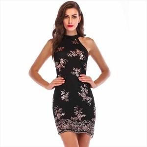 Sequin Embellished High-Neck Sleeveless Mini Party Dress