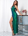 Sequin V-Neck Long Sleeveless Prom Maxi Dress With Split