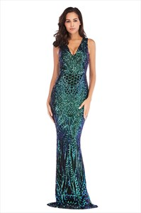 Sequin Embellished Mermaid V-Neck Sleeveless Prom Dress
