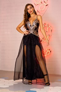 Black V-Neck Lace Applique Open Back Prom Dress With Split