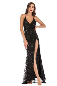 Sequin V-Neck Backless Spaghetti Strap Party Dress With Split