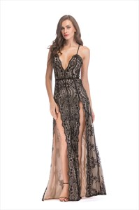 V-Neck Sequin Split Front Maxi Dress With Criss-Cross Straps