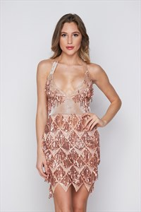 Sequin V-Neck See Through X-Back Mini Dress With Tassels