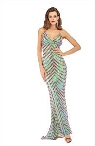 Mermaid Stripe V-Neck Spaghetti Straps Maxi Dress With X-Back
