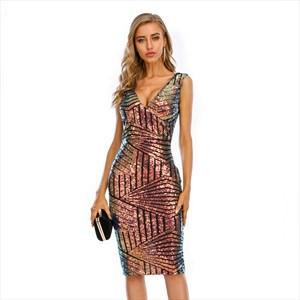 Gradient Sequin Stripes V Neck Sleeveless Knee Length Dress