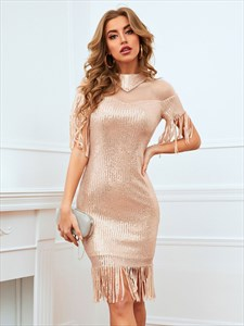 Champagne High-Neck Sequin Club Mini Dress With Tassels