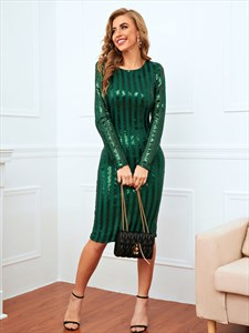 Emerald Green Striped Sequin Club Mini Dress With Long Sleeves