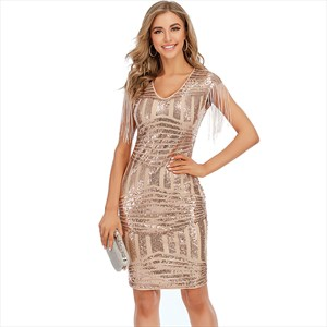 Pink V-Neck Sequin Cap Sleeves Mini Dress With Tassels