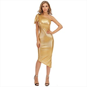 Gold One Shoulder Asymmetrical Sheath Party Dress