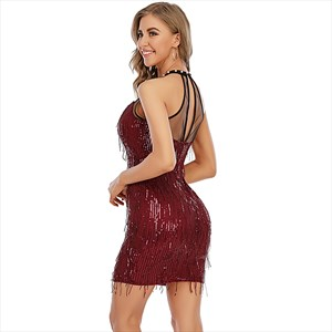 Burgundy Sequin High-Neck Backless Party Mini Dresses