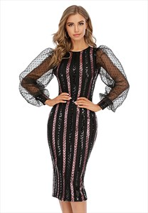 Black Mermaid Embellished Short Prom Dresses With Long Sleeves