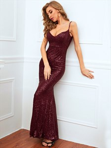 Burgundy Sequin Mermaid Spaghetti Strap Prom Dresses
