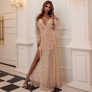 Sequin V-Neck Split Front Long Sleeves Prom Dress With Tassels