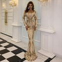 Gold Mermaid Sequin Embellished Long Prom Dress With Long Sleeves