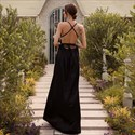 V-Neck Spaghetti Strap Backless Prom Dress With Criss-Cross Straps
