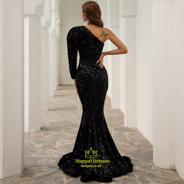 Black Sequin Mermaid Front Keyhole Prom Dress With One Long Sleeve
